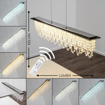 Suspension Slidre LED Chrome, 1 lumière, Télécommandes