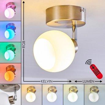 Plafonnier Motala LED Nickel mat, Blanc, 1 lumière, Télécommandes, Changeur de couleurs