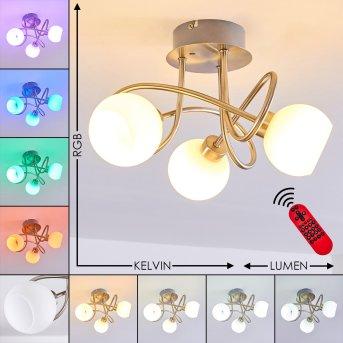 Plafonnier Motala LED Nickel mat, 3 lumières, Télécommandes, Changeur de couleurs