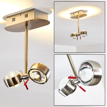 Plafonnier Florenz LED Nickel mat, 2 lumières