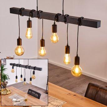 Suspension Barbengo Noir, 6 lumières