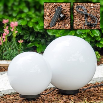 Set de boules lumineuses Miau Blanc, 2 lumières