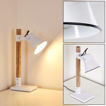 Lampe à poser Oksbol Brun, Blanc, 1 lumière