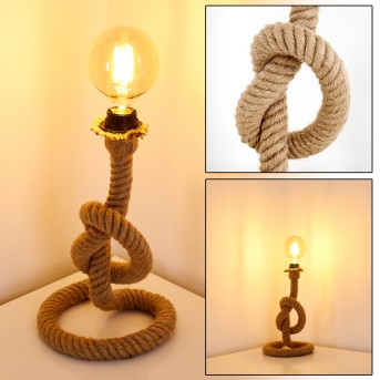 Lampe à poser Etowah Noir, Brun, 1 lumière