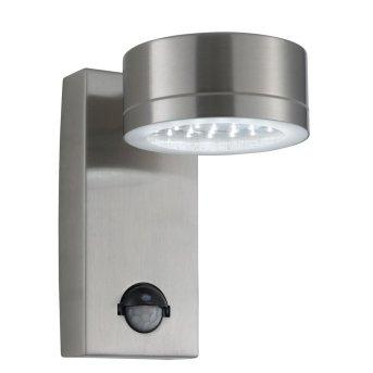 Lampe d'extérieur Searchlight ODU LED Acier inoxydable, 1 lumière, Détecteur de mouvement