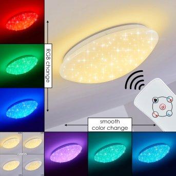 Plafonnier Brighton Star LED Blanc, 1 lumière, Télécommandes, Changeur de couleurs