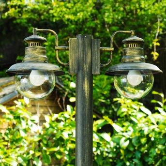 Lampadaire d'extérieur Brilliant Artu Noir, Or, 2 lumières