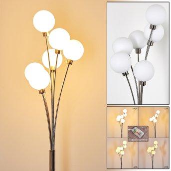 Lampadaire Bernado Nickel mat, 6 lumières