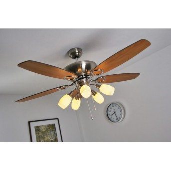 Ventilateur Globo JERRY Nickel mat, Chrome, Acier inoxydable, 5 lumières