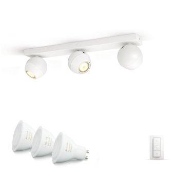 Spot de plafond, kit de base Philips Hue Ambiance White Buckram Blanc, 3 lumières, Télécommandes