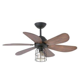Ventilateur de plafond à lampe Faro Barcelona Chicago Noir, 1 lumière