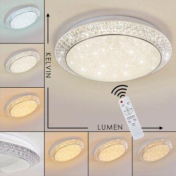 Plafonnier Parrita LED Blanc, 1 lumière, Télécommandes, Changeur de couleurs