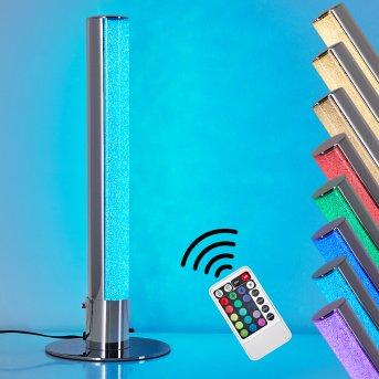 Lampe à poser Flaut LED Chrome, 1 lumière, Télécommandes, Changeur de couleurs