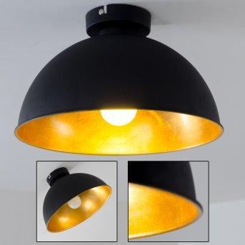 Plafonnier Nome Noir doré, 1 lumière
