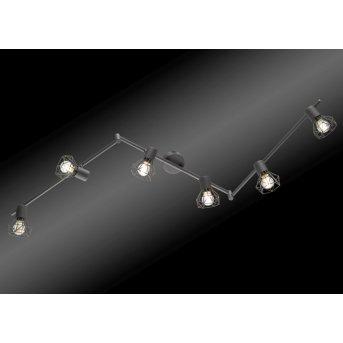 spot sur rail sous forme d'arc Honsel Ran Gris, 6 lumières