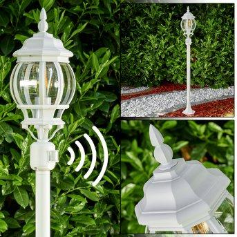 Lampadaire extérieur Lentua Blanc, 1 lumière, Détecteur de mouvement