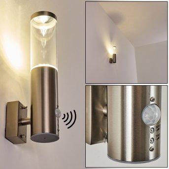 Applique murale d'extérieur Noreaz LED Acier inoxydable, 1 lumière, Détecteur de mouvement