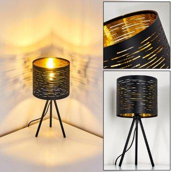 Lampe de table Bathinda Noir, 1 lumière