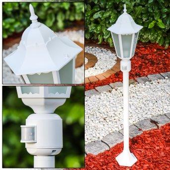 Lampadaire d'extérieur Hongkong Frost Blanc, 1 lumière, Détecteur de mouvement
