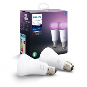 LED Set de 2 Ambiance White & Color E27 9,5 Watt 6500 Kelvin 806 Lumen Philips Hue