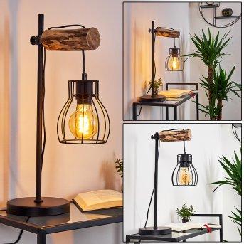 Lampe de table Gondo Noir, Bois clair, 1 lumière