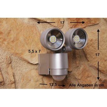 Spot Globo RADIATOR II Argenté, 2 lumières, Détecteur de mouvement