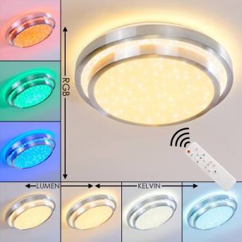 Plafonnier Mirabeau LED Aluminium, 2 lumières, Télécommandes, Changeur de couleurs