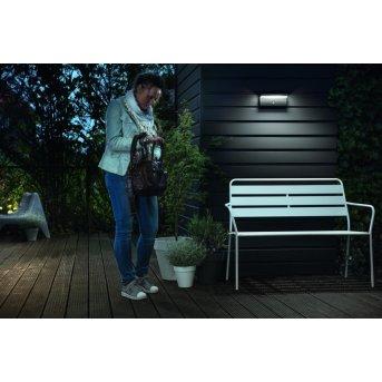 Applique murale d'extérieur Philips Bustan LED Anthracite, 2 lumières, Détecteur de mouvement