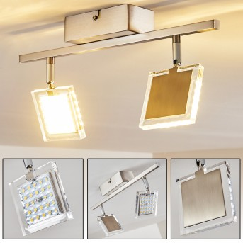 Plafonnier Piney LED Nickel mat, 2 lumières