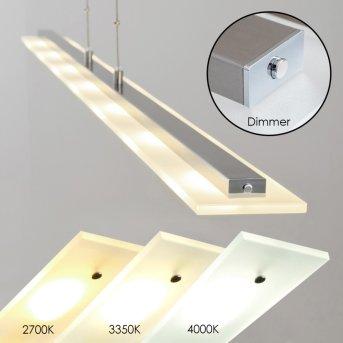 Suspension Lourdes LED Nickel mat, Chrome, 7 lumières