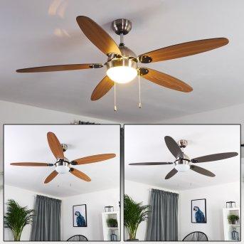 Ventilateur de plafond Valeria Nickel mat, Chrome, Bois clair, 1 lumière