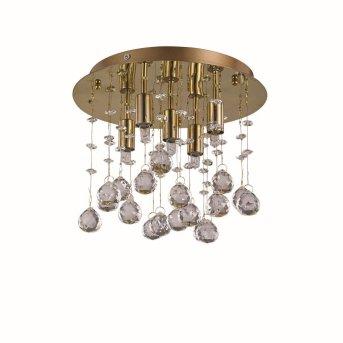 Plafonnier Ideal Lux MOONLIGHT Or, Aspect cristal, 5 lumières