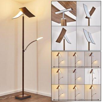 Lampadaire Lasona LED Argenté, Brun, 2 lumières