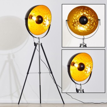 Lampadaire Saturn Chrome, Noir, 1 lumière