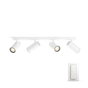 Spot de plafond, kit de base Philips Hue Ambiance White Burato Blanc, 4 lumières, Télécommandes