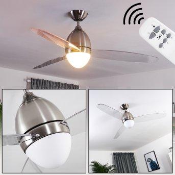 Ventilateur de plafond Varazze Nickel mat, Transparent, 1 lumière, Télécommandes