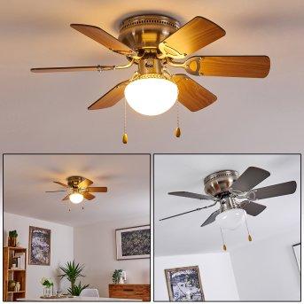 Ventilateur de plafond Trillo Nickel mat, 1 lumière