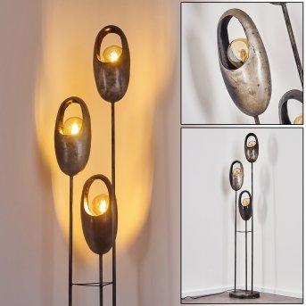 Lampadaire Lamington Noir, Argenté, 3 lumières