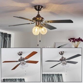 Ventilateur de plafond Estepona LED Chrome, Brun, Blanc, 3 lumières