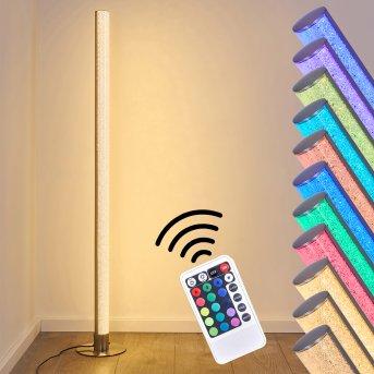 Lampadaire Pipe LED Nickel mat, 1 lumière, Télécommandes, Changeur de couleurs