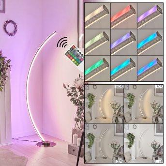 Lampadaire Scar RGB LED Nickel mat, 1 lumière, Télécommandes, Changeur de couleurs