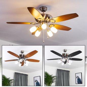 Ventilateur de plafond Irving Chrome, Gris, Bois clair, 5 lumières