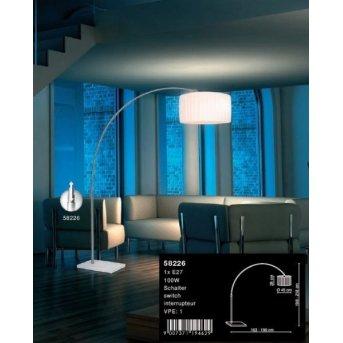 Lampadaire Globo LA NUBE Nickel mat, Acier inoxydable, Blanc, 1 lumière