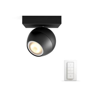 Spot de plafond, kit de base Philips Hue Ambiance White Buckram Noir, 1 lumière, Télécommandes