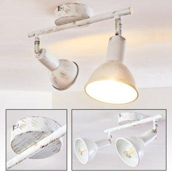 Spot de plafond Polmak Blanc, Or, 2 lumières