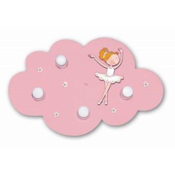 Plafonnier Waldi Wolke Ballerina Rose, 4 lumières