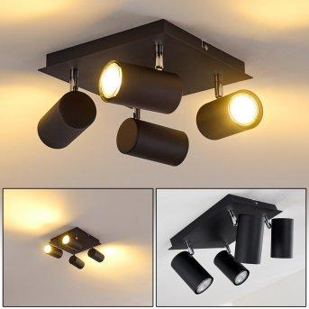 Plafonnier Zuoz Chrome, Noir, 4 lumières