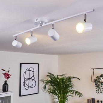 Plafonnier Chennai LED Chrome, Blanc, 4 lumières