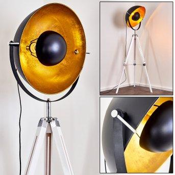 Lampadaire Jupiter Chrome, Blanc, 1 lumière