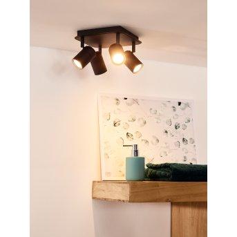 Spot de plafond Lucide LENNERT LED Noir, 4 lumières